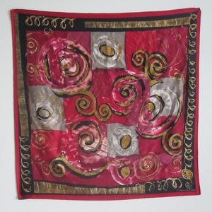 Oscar de la Renta Square Silk Scarf Red Gold Black